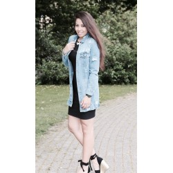 Ripped Denim Long Jacket