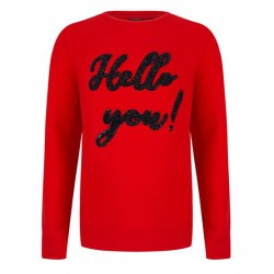 INDIAN BLUE JEANS IBG28-4013-273 CREWNECK SWEATER HELLO RED