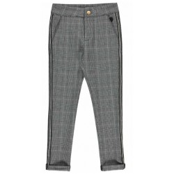 LEVV BRANDY JAQUARD PANTS ESPRESSO CHECK GREY