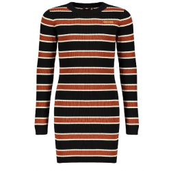 NOBELL Q009-3804-014 RIBKNIT STRIPED DRESS JET BLACK