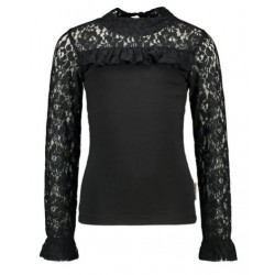 B.NOSY Y108-5121-099 BLOUSE WITH LACE BLACK