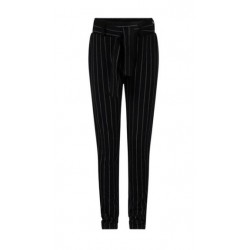INDIAN BLUE JEANS IBGW21-2268-999 STRIPED PAPERBAG PANTS BLACK